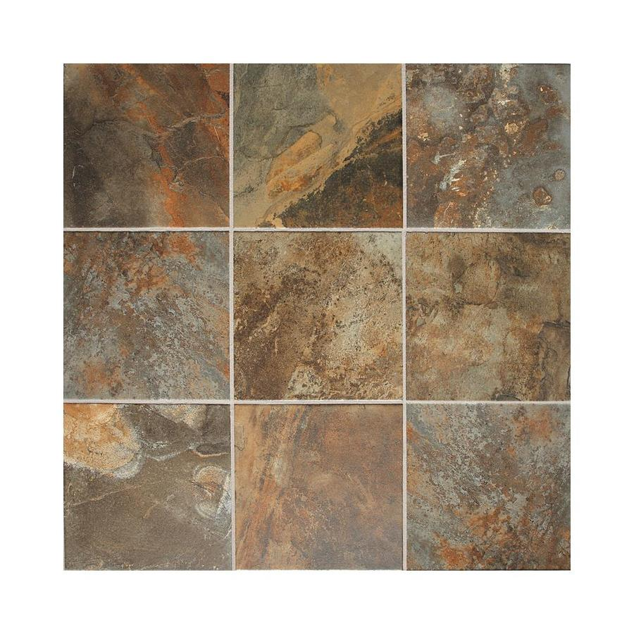 Porcelain Bathroom Floor Tiles: Shop American Olean 44-Pack Kendal Slate Carlisle Black
