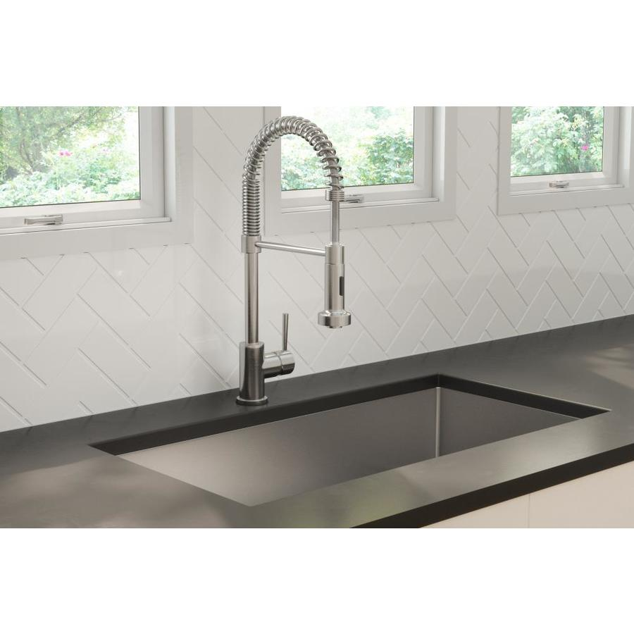 Giagni Arpino Stainless Steel 1 Handle Deck Mount Pre Rinse Handle Kitchen Faucet In The Kitchen Faucets Department At Lowes Com