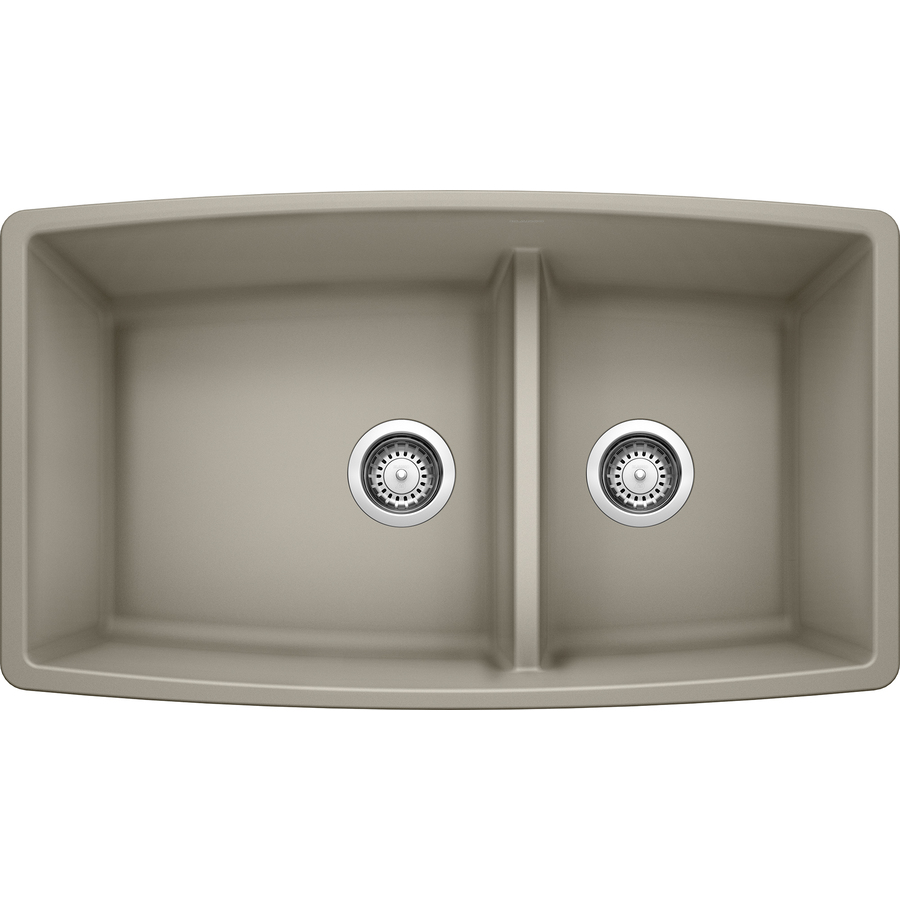 Shop BLANCO Performa 19-in x 33-in Truffle Double-Basin ...