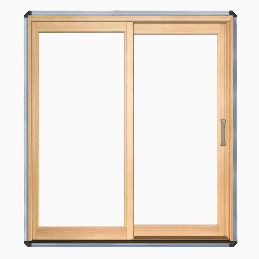 Pella Lifestyle Clear Glass Wood Left-Hand Sliding Double Door Sliding Patio Door 72-in x 80-in 748171613215