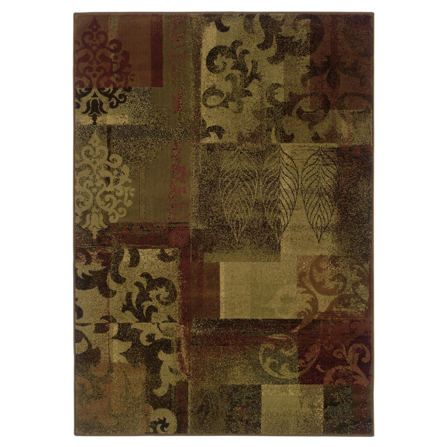 Shop Allen Roth Bodega Rectangular Red Floral Woven Area