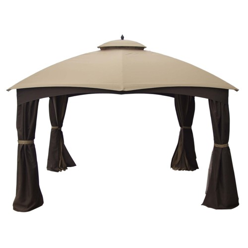 Allen Roth 10 X 12 Ft Beige Amp Brown Curtain Canopy Gazebo