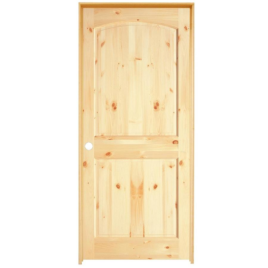 Shop reliabilt 2 panel arch top solid knotty pine right - Single panel prehung interior doors ...
