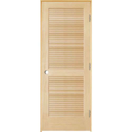 ReliaBilt Unfinished Full Louver Wood Pine Single Pre Hung Door (Common: 36