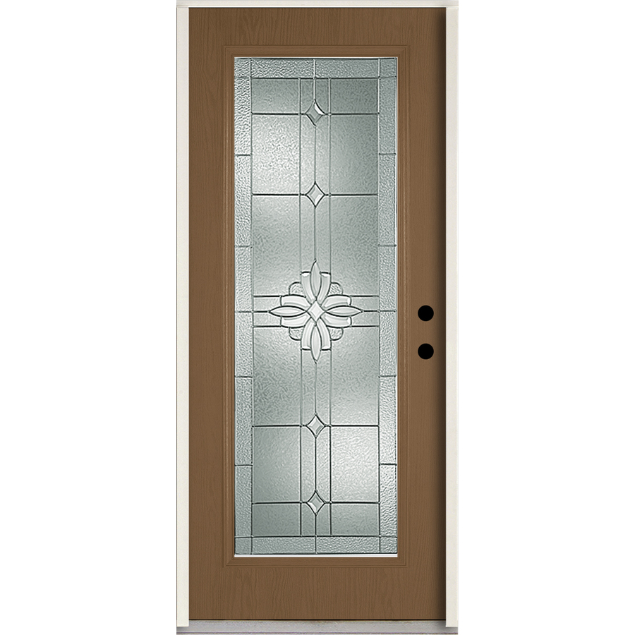 ReliaBilt Laurel 36-in x 80-in Full Lite Decorative Glass Left-Hand Inswing Woodhaven Stained Fiberglass Prehung Entry Door with Insulating Core