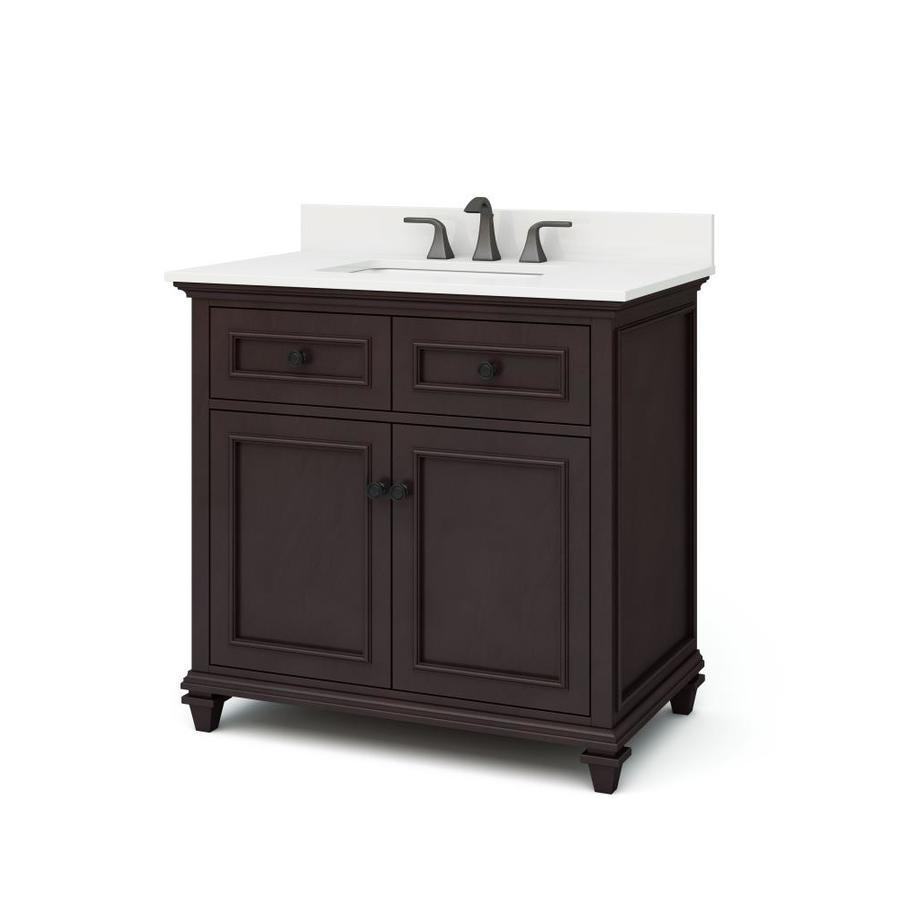 allen + roth Chelney 36-in Espresso Single Sink Bathroom Vanity with Carrera White Engineered Stone Top in Brown | WSLW36LTV
