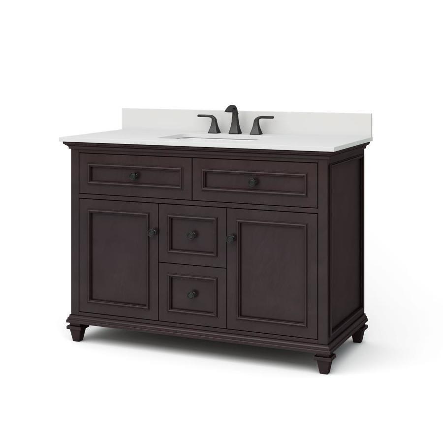 allen + roth Chelney 48-in Espresso Single Sink Bathroom Vanity with Carrera White Engineered Stone Top in Brown | WSLW48LTV