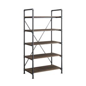 Metal and glass bookcase Grey Wash Display Product Reviews For Distressed Brown Metal 5shelf Standard Bookcase Lowes Bookcases At Lowescom