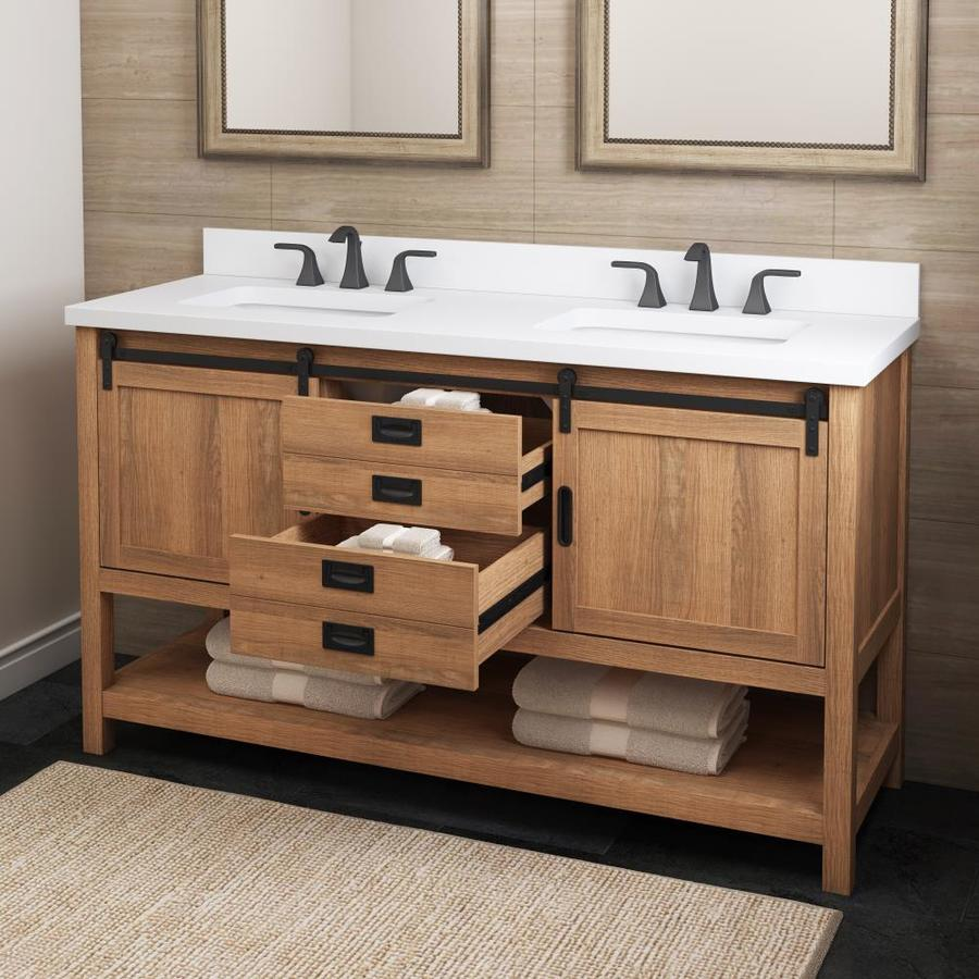 Style Selections 60 In Brown Double Sink Bathroom Vanity With White Engineered Stone Top In The Bathroom Vanities With Tops Department At Lowes Com
