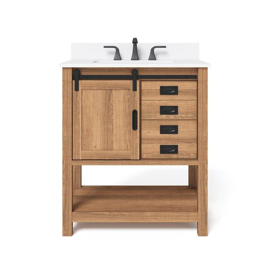 Style Selections 30 In Brown Single Sink Bathroom Vanity With White Engineered Stone Top In The Bathroom Vanities With Tops Department At Lowes Com