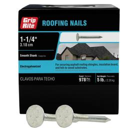 Grip Rite 11 Gauge Electro Galvanized Steel Roofing Nails 5 Lbs In The Roofing Nails Department At Lowes Com
