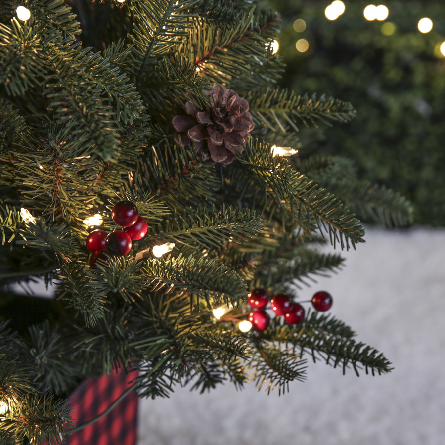 Holiday Living 4 Ft Mixed Needle Pre Lit Potted Slim Artificial Christmas Tree With 100 Constant White Clear Incandescent Lights In The Artificial Christmas Trees Department At Lowes Com