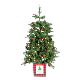 Holiday Living 4-Ft Pre-Lit Slim Artificial Christmas Tree With 100 Constant White Clear Incandescent Lights 025-423
