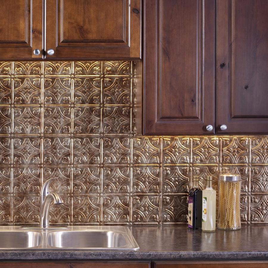 - Fasade Traditional 1 18.5-in X 24.5-in Bronze Backsplash Panels In