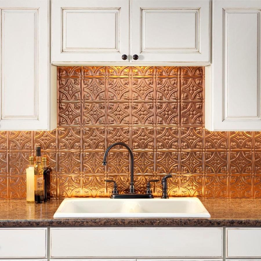 - Fasade Traditional 1 18.5-in X 24.5-in Polished Copper Backsplash