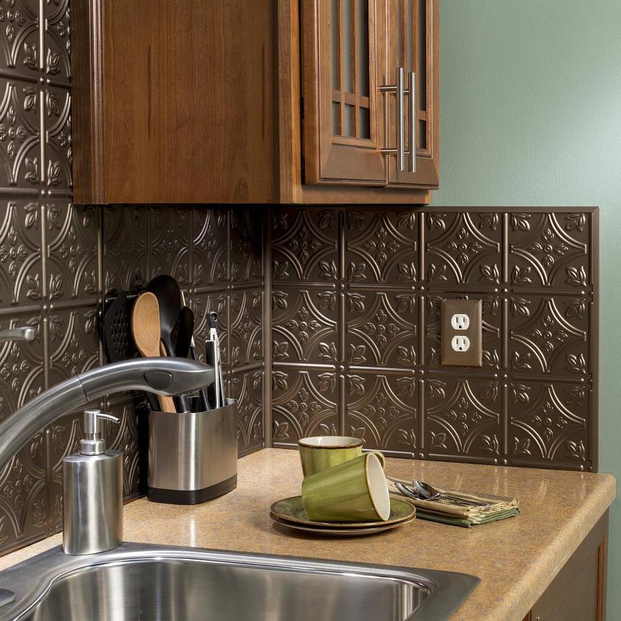 - Fasade Traditional 1 18.5-in X 24.5-in Argent Bronze Backsplash