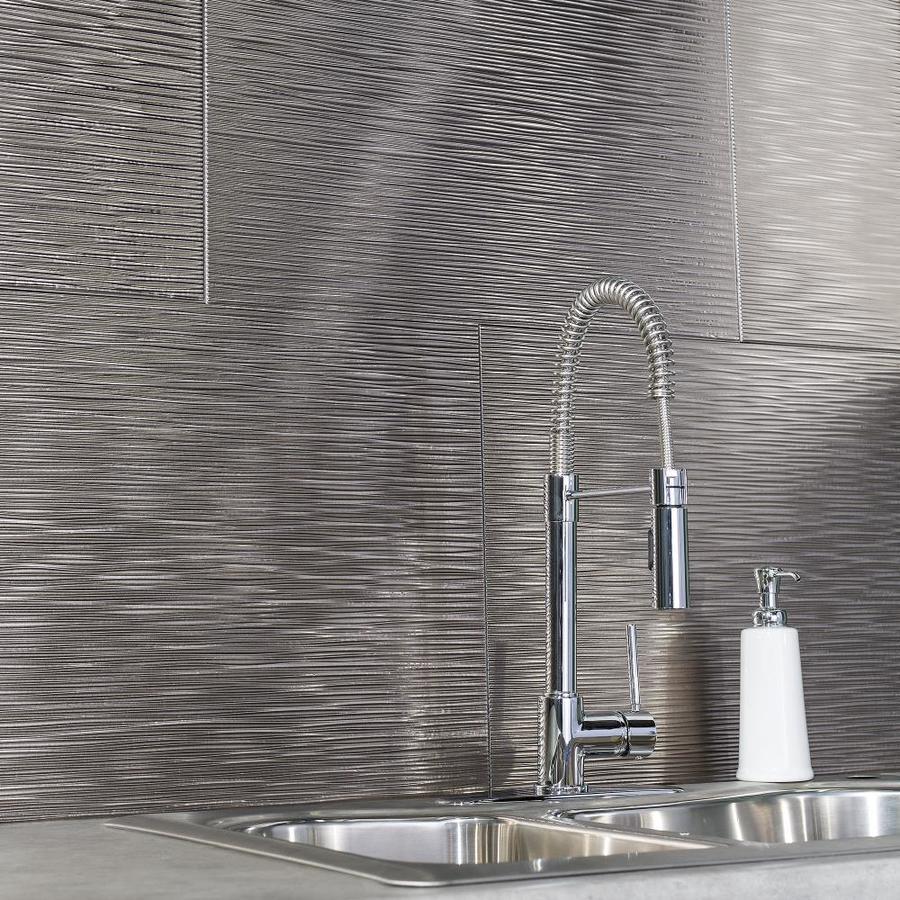 - Fasade Ripple 18.5-in X 24.5-in Brushed Nickel Backsplash Panels