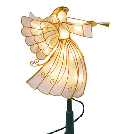 Holiday Living 12.75-in -in Light Gold Lighted Metal Angel Christmas Tree Topper White Incandescent Lights C91563-3