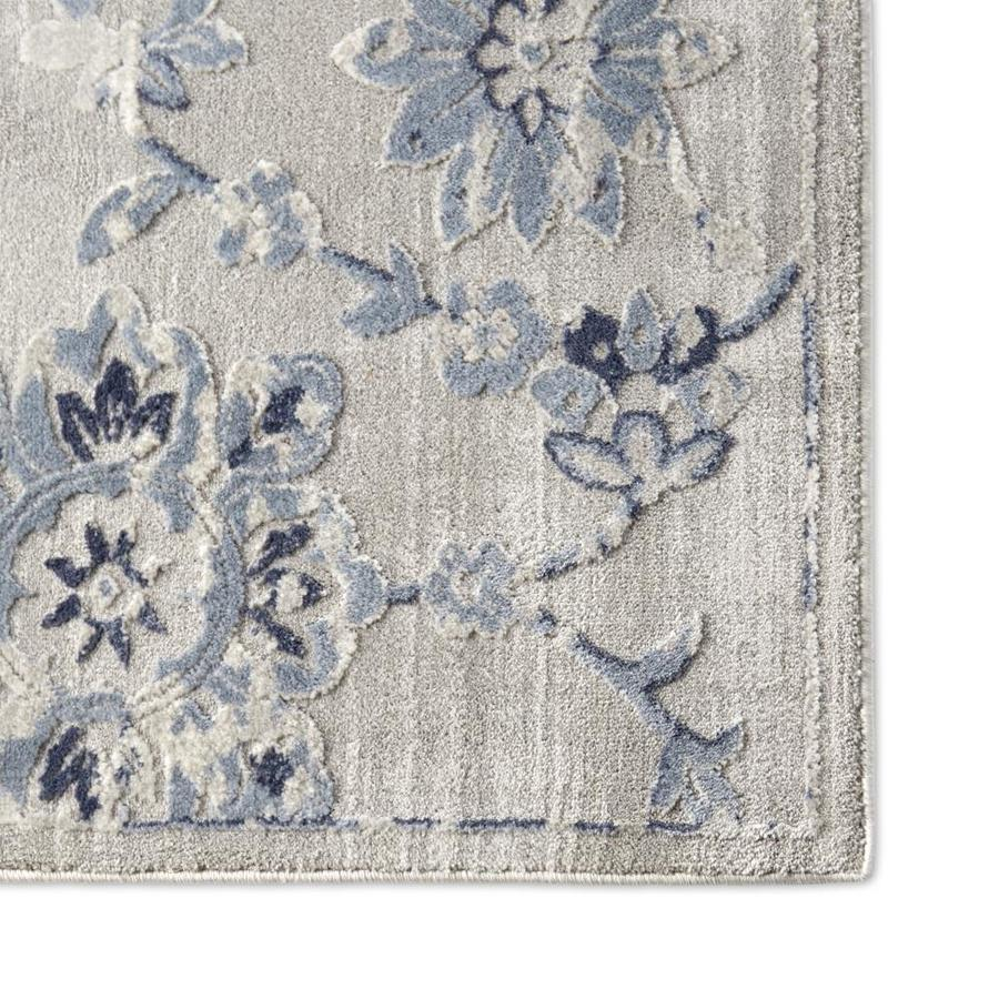 Home Dynamix Premier Floral Blue 5 X 7 Gray Blue Indoor Floral Botanical Area Rug In The Rugs Department At Lowes Com