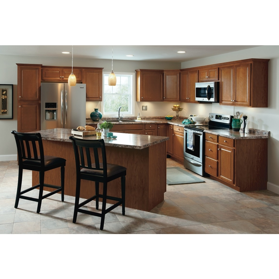 Kitchen Classics Cheyenne 30 In W X 35 In H X 23 75 In D Stained Saddle Door And Drawer Base Cabinet In The Stock Kitchen Cabinets Department At Lowes Com