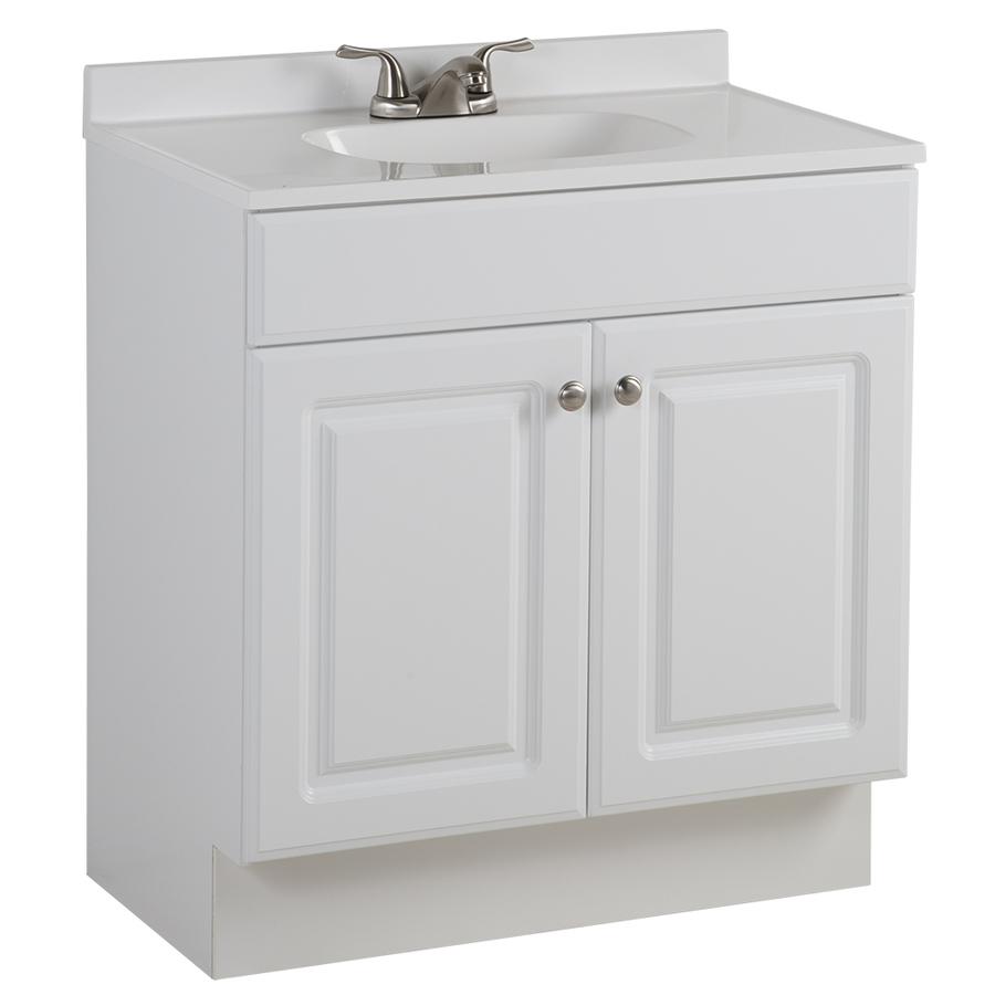 Shop Project Source White Integral Single Sink Bathroom ...