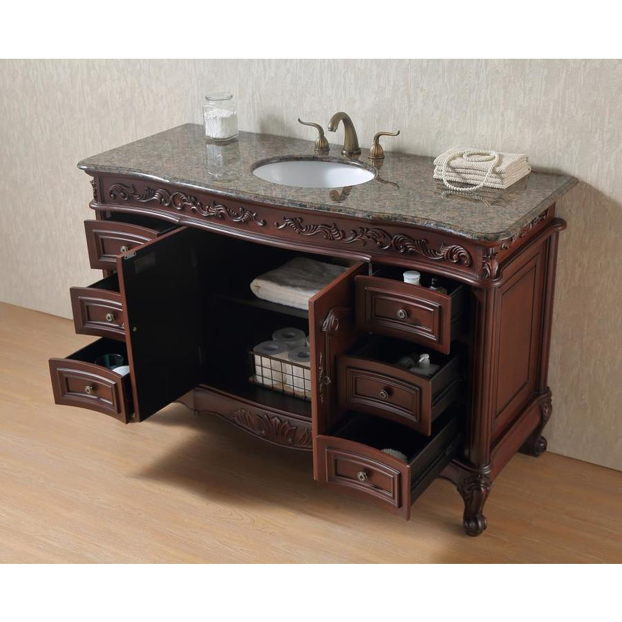 Stufurhome 56 In Dark Cherry Undermount Single Sink Bathroom Vanity With Baltic Brown Granite Top In The Bathroom Vanities With Tops Department At Lowes Com