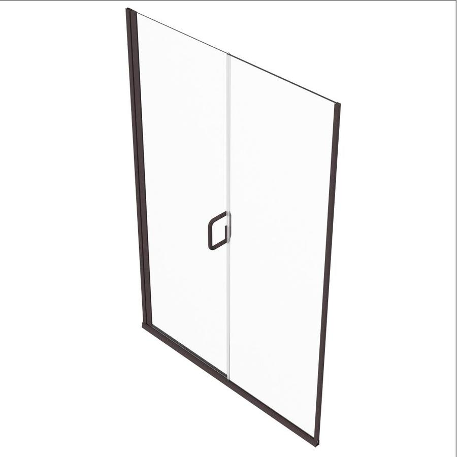 Holcam Distinctive Elite 71 375 In H X 47 0625 In To 48 In W Semi Frameless Hinged Oil Rubbed Bronze Shower Door Clear Glass In The Shower Doors Department At Lowes Com