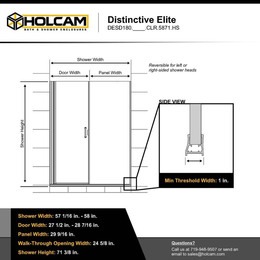 Holcam Distinctive Elite 71 375 In H X 57 0625 In To 58 In W Semi Frameless Hinged Matte Black Shower Door Clear Glass In The Shower Doors Department At Lowes Com