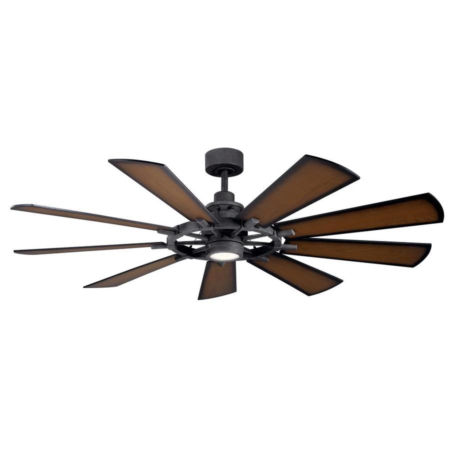 Kichler Gentry Distressed Black 65 In Led Indoor Outdoor Ceiling Fan 9 Blade In The Ceiling Fans Department At Lowes Com
