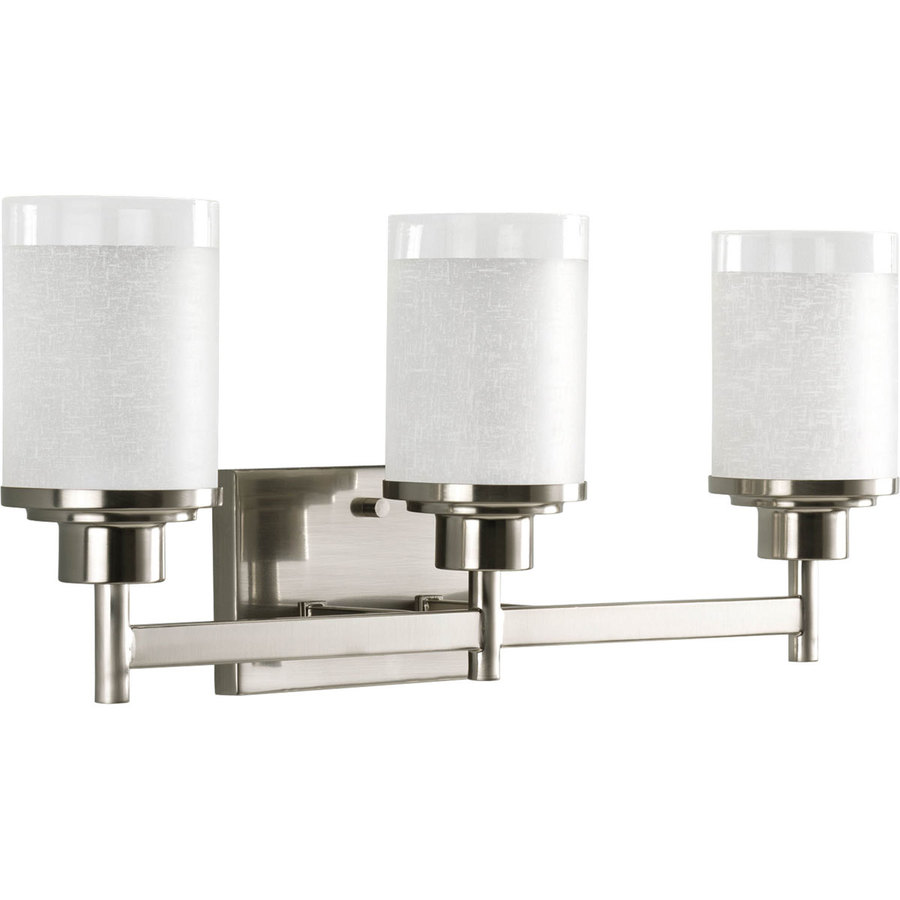 Shop progress lighting 3 light alexa brushed nickel - Images of bathroom vanity lighting ...