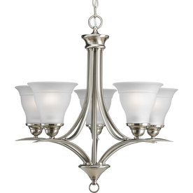 display product reviews for trinity 23 in 5 light brushed nickel etched glass shaded - Brushed Nickel Dining Room Light
