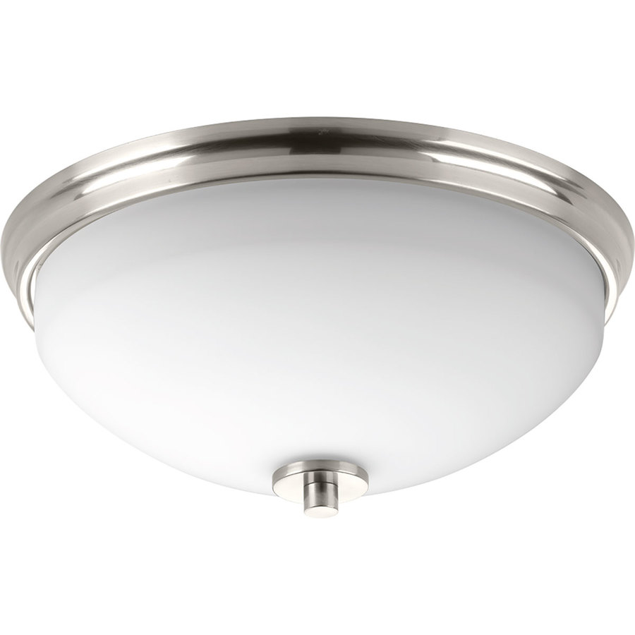 Progress Lighting Replay 14-In Brushed Nickel Modern/Contemporary Incandescent Flush Mount Light P3423-09