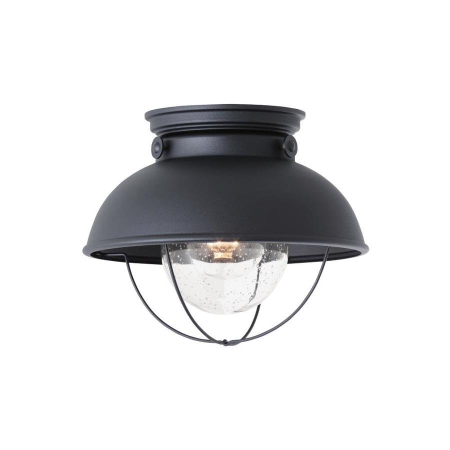 shop sea gull lighting 11 1 4 in black outdoor flush mount light at. Black Bedroom Furniture Sets. Home Design Ideas