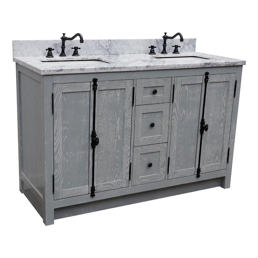 Bellaterra Home Lv0100 55 Gya Wm Double Vanity 55 In Gray Ash Undermount Double Sink Bathroom Vanity With White Carrara Marble Top In The Bathroom Vanities With Tops Department At Lowes Com