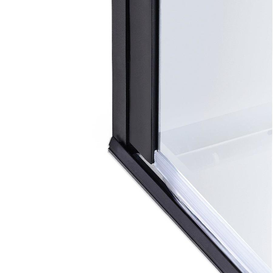 Coastal Shower Doors Illusion Series 66 In H X 44 In To 45 25 In W Frameless Hinged Black Shower Door Clear Glass In The Shower Doors Department At Lowes Com