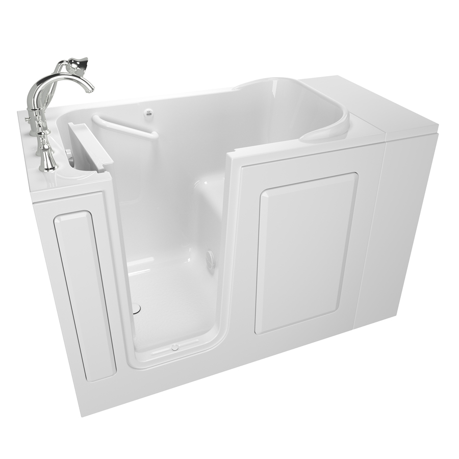 American Standard 28-In W X 48-In L White Gelcoat/Fiberglass Rectangular Left-Hand Drain Walk-In Bathtub And Faucet Incl