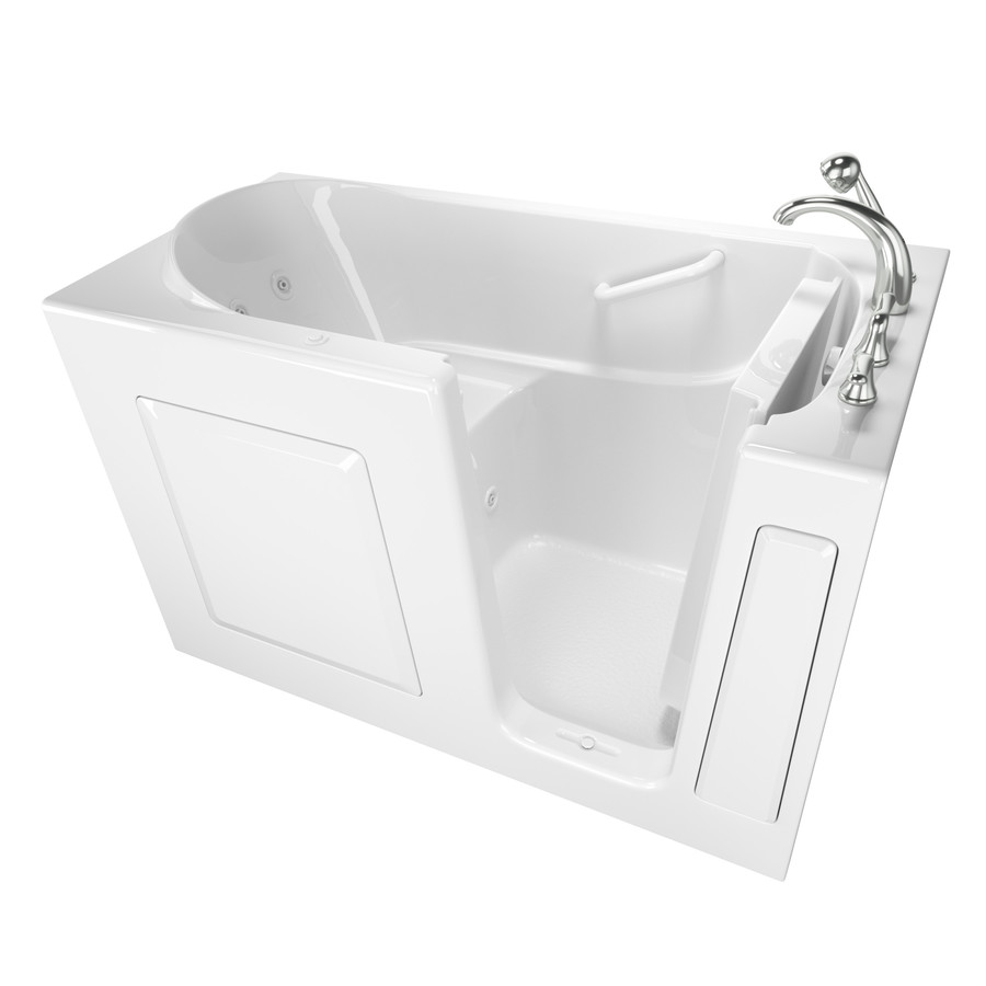 Safety Tubs 30-In W X 59-In L White Gelcoat/Fiberglass Rectangular Right-Hand Drain Walk-In Whirlpool Tub And Faucet Inc