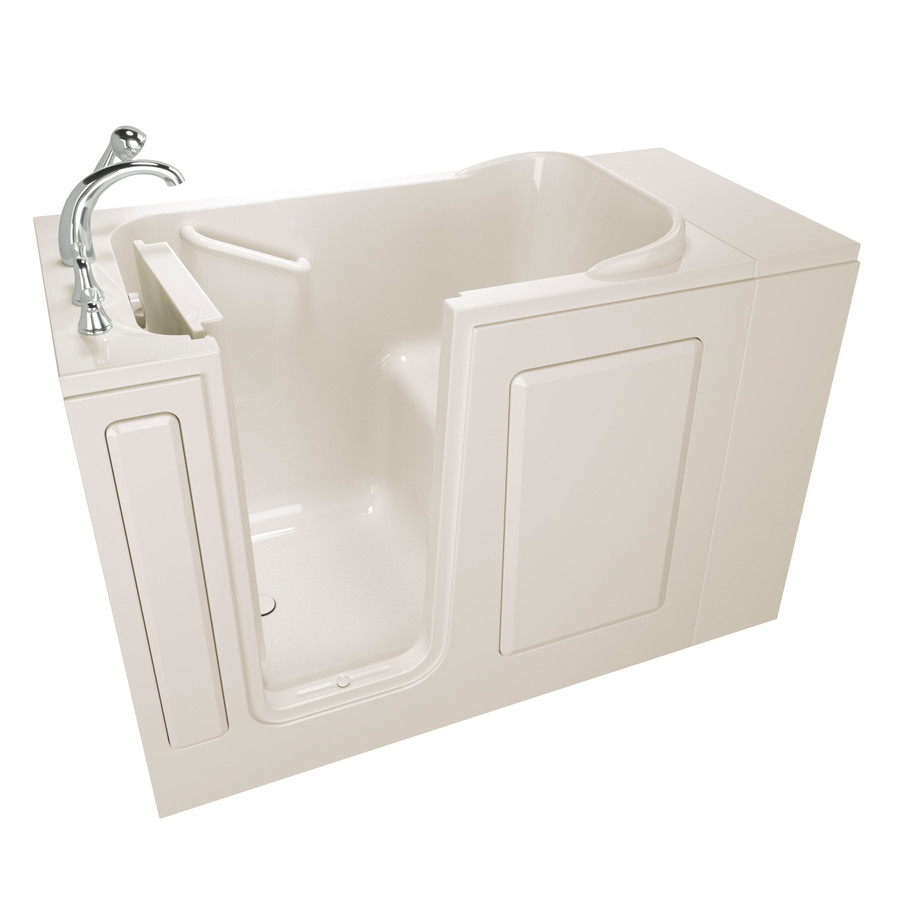 Safety Tubs 28-In W X 48-In L Biscuit Gelcoat/Fiberglass Rectangular Left-Hand Drain Walk-In Bathtub And Faucet Included