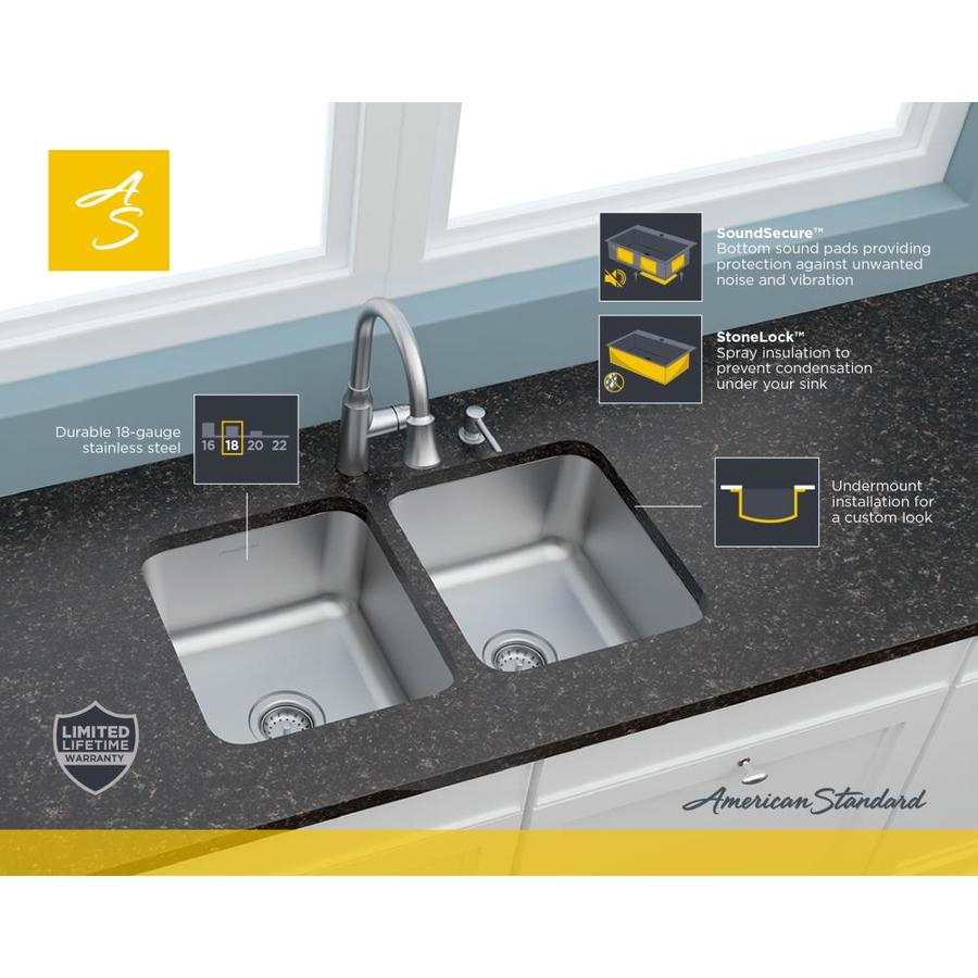 American Standard Danville Undermount 32 In X 18 In Stainless Steel Double Equal Bowl Kitchen Sink In The Kitchen Sinks Department At Lowes Com