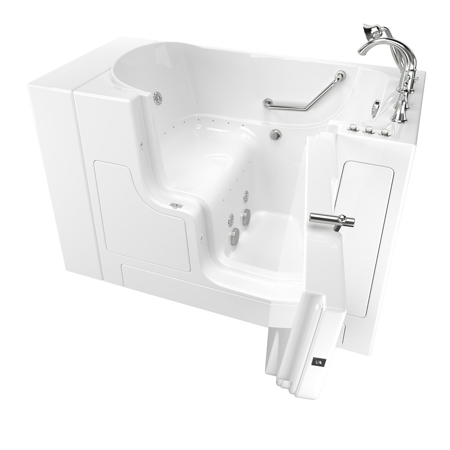 American Standard 52-In L X 30-In W X 40-In H White Gelcoat/Fiberglass Rectangular Walk-In Whirlpool Tub And Air Bath 3052OD.709.CRW-PC