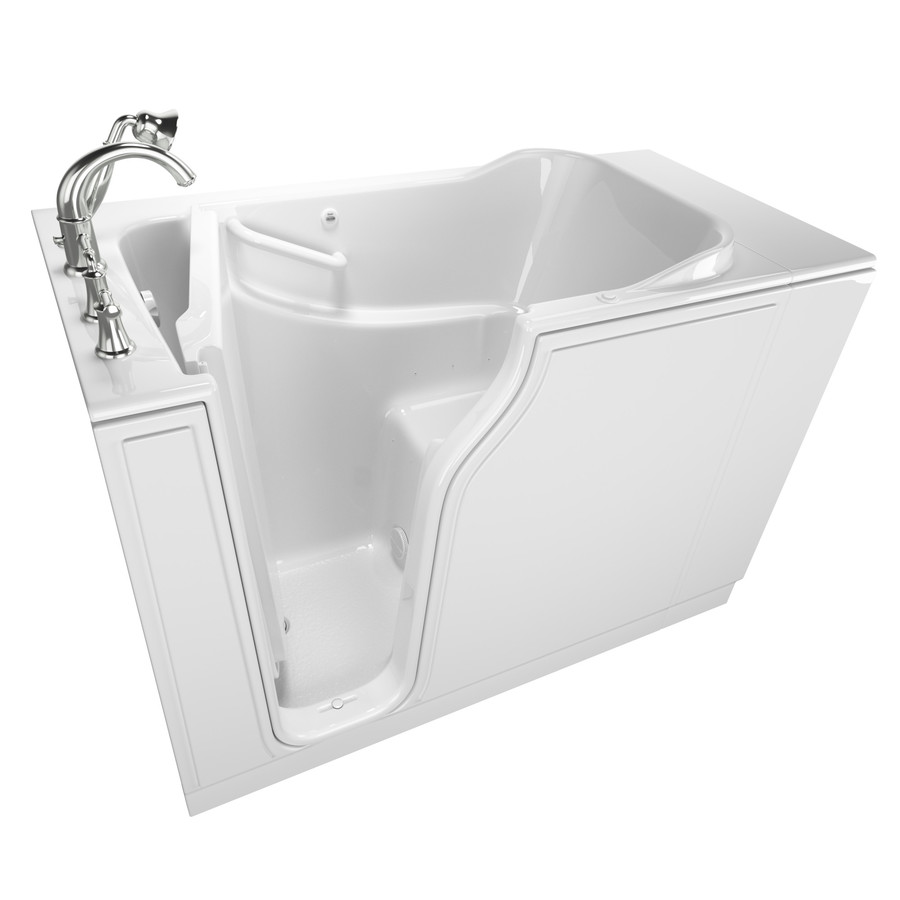 American Standard 29.75-In W X 51.5-In L White Gelcoat/Fiberglass Rectangular Left-Hand Drain Walk-In Air Bath And Fauce