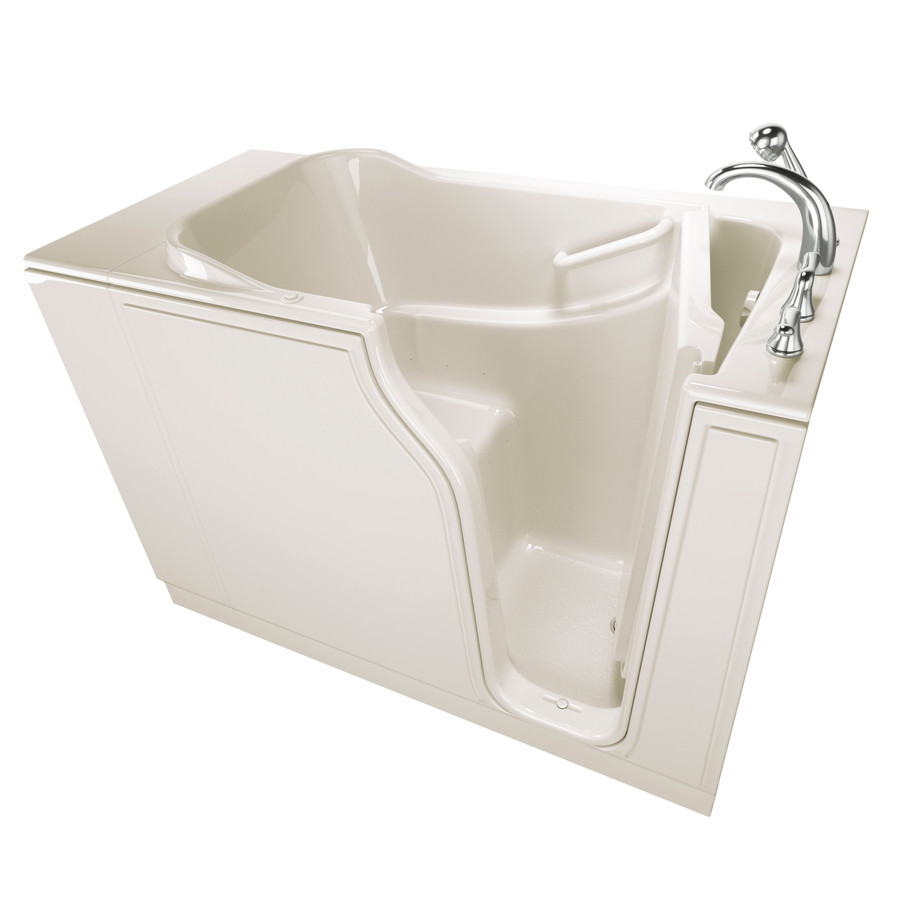 Safety Tubs 29.75-In W X 51.5-In L Biscuit Gelcoat/Fiberglass Rectangular Right-Hand Drain Walk-In Air Bath And Faucet I