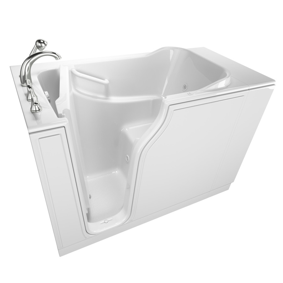 Safety Tubs 51.5In L X 29.75In W X 42-In H White Gelcoat/Fiberglass Rectangular Walk-In Whirlpool Tub And Air Bath SSA5230LJ-WH