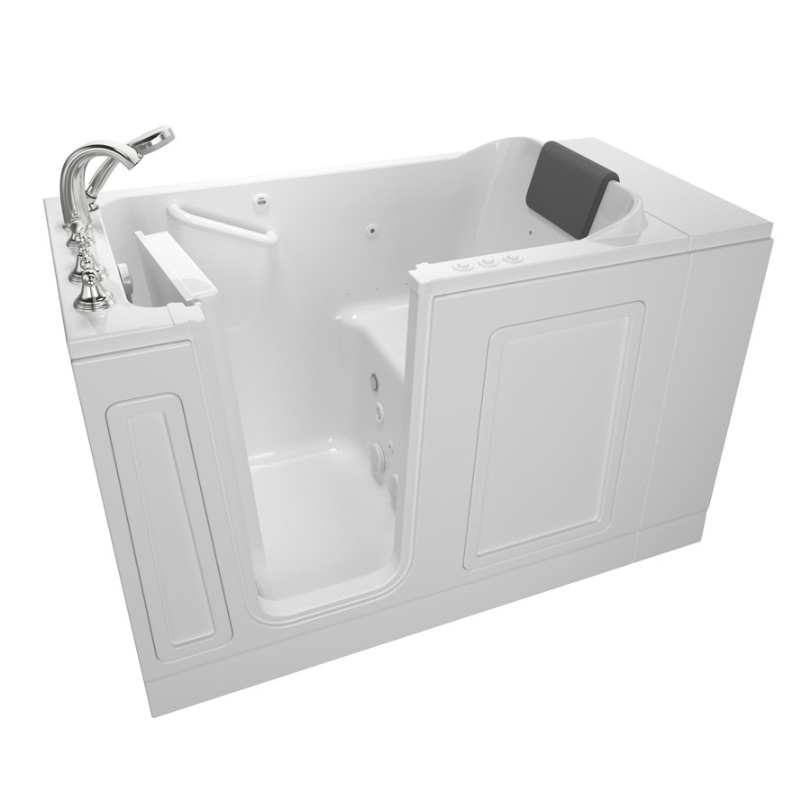 American Standard 50.5In L X 30-In W X 37.5In H Whiterylic Rectangular Walk-In Whirlpool Tub And Air Bath 3051.119.CLW