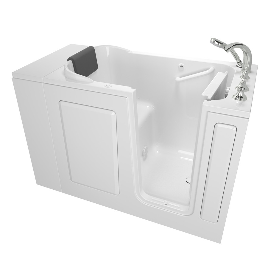 American Standard 28-In W X 48-In L White Gelcoat/Fiberglass Rectangular Right-Hand Drain Walk-In Air Bath And Faucet In
