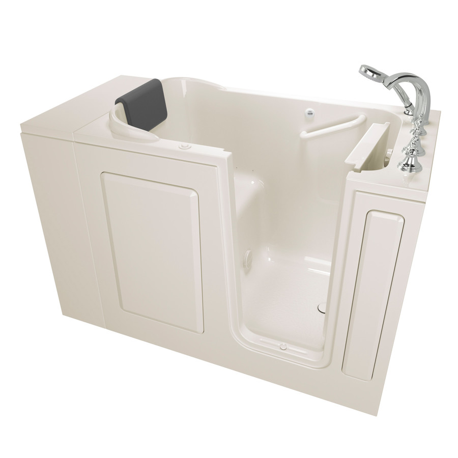 American Standard 28-In W X 48-In L Linen Gelcoat/Fiberglass Rectangular Right-Hand Drain Walk-In Air Bath And Faucet In