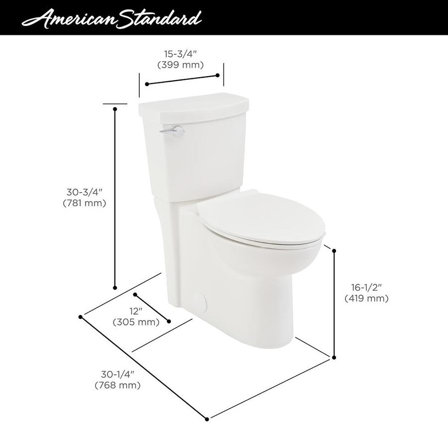 American Standard Clean White Watersense Elongated Chair Height 2 Piece Toilet 12 In Rough In Size Ada Compliant In The Toilets Department At Lowes Com