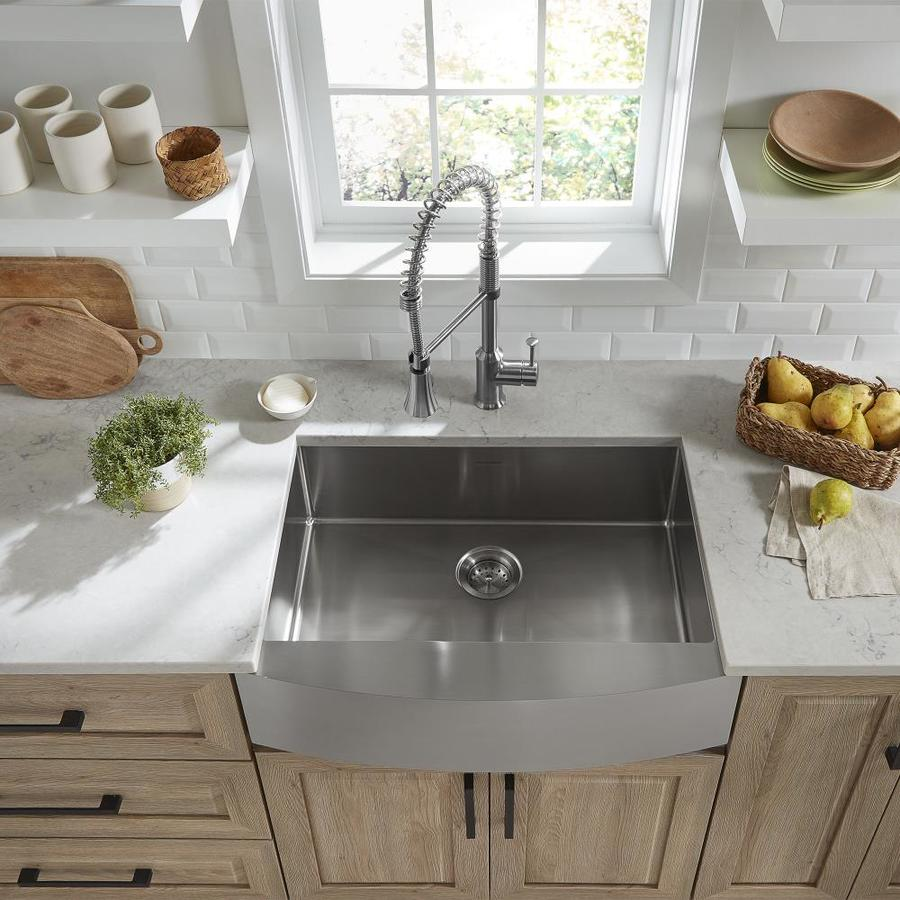 American Standard Suffolk Farmhouse Apron Front 33 In X 22 In Stainless Steel Single Bowl Kitchen Sink With Drainboard In The Kitchen Sinks Department At Lowes Com