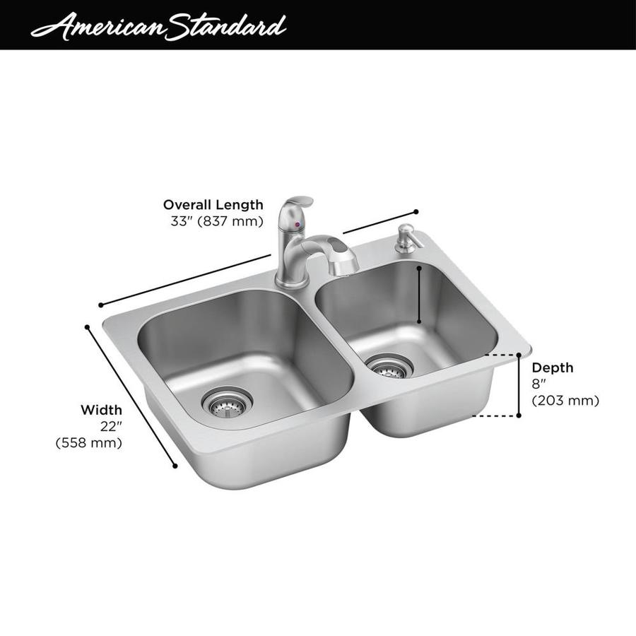 American Standard Sullivan Drop In 33 In X 22 In Stainless Steel Double Offset Bowl 2 Hole Kitchen Sink All In One Kit In The Kitchen Sinks Department At Lowes Com