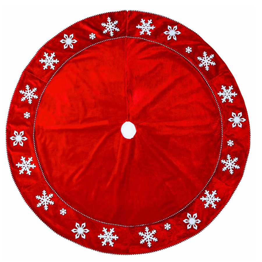 Lowes Christmas Tree Skirts: Shop Holiday Living 56-in Red Cotton Snowflake Christmas